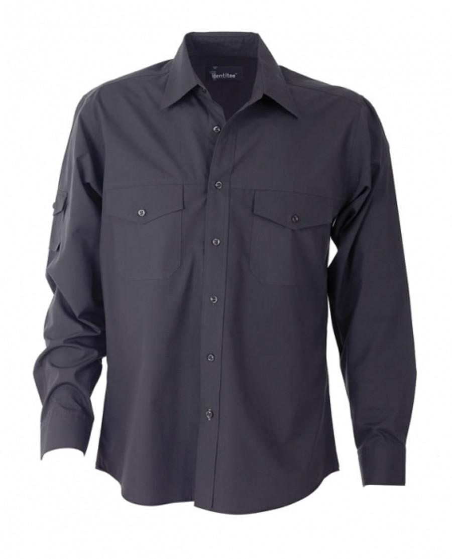 Mens L/S Harley Business Shirt - Gun Metal