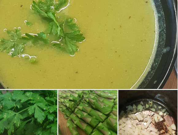 Asparagus, pea and parsley soup