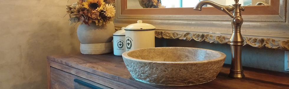 Tashmart Stone Sinks Chiseled Round Noce Sink