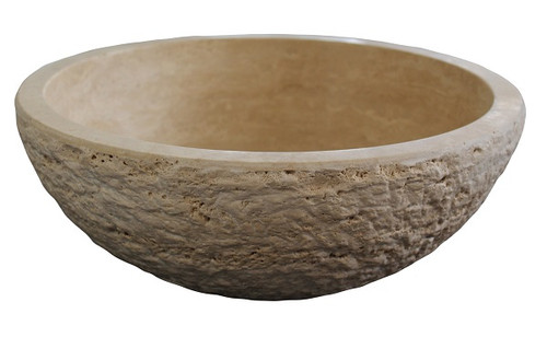 Chiseled Round Natural Stone Vessel Sink   Light Travertine
