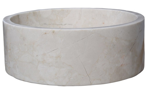 Cylindrical Natural Stone Vessel Sink - Beige Marble (Clearance)