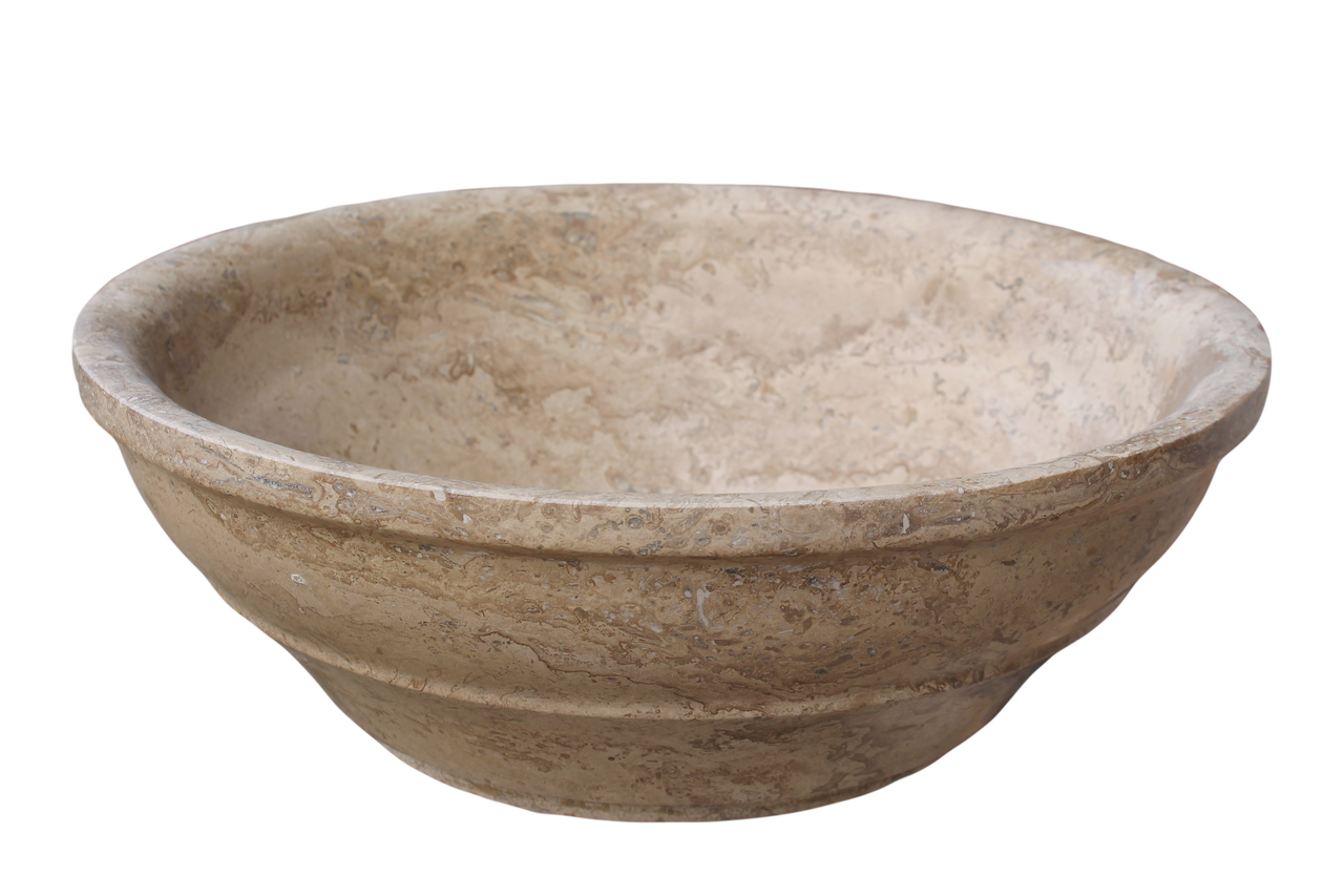 Travertine Vessel Sink : ... Vessel Sinks Elegant Natural Stone Vessel Sink - Afyon Noce Travertine