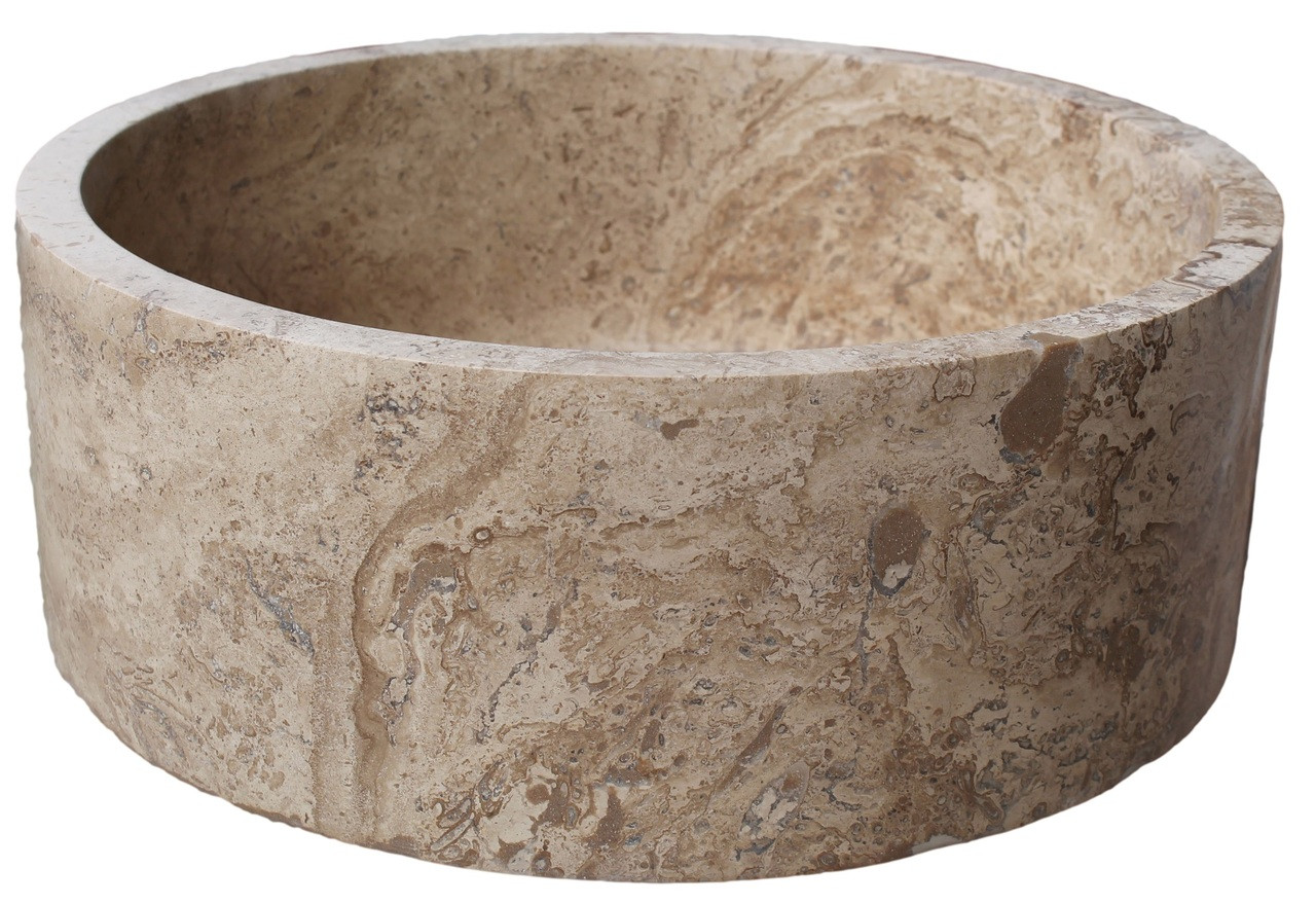 ... Sinks Cylindrical Natural Stone Vessel Sink - Afyon Noce Travertine