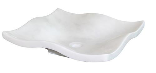 Genial White Marble Flower Petal Vessel Sink