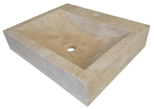 Rectangular Vessel Sink   Light Travertine
