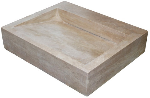 TashMart Trough Linear Drain Sink In Light Travertine