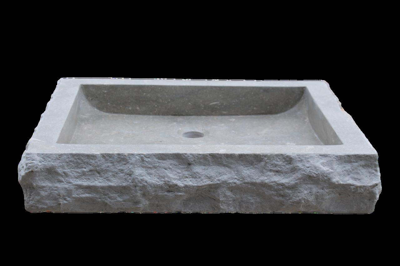 Home Vessel Sinks Chiseled Rectangular Natural Stone Vessel Sink - Sea ...