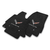 C7 Corvette Stingray Floor Mats - Lloyds Mats Black with C7 Crossed Flag Logo & Corvette Script