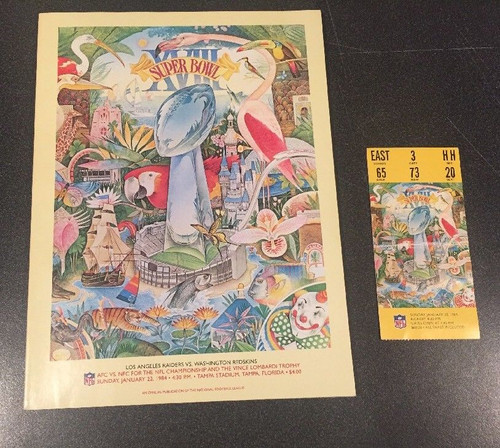 Super Bowl XVIII Program and ticket stub LA Raiders vs Washington Redskins 1984