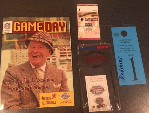 Redskins Jack Kent Cooke Stadium Inaugural Game Day Program, Ticket stub, Parking Pass and pin