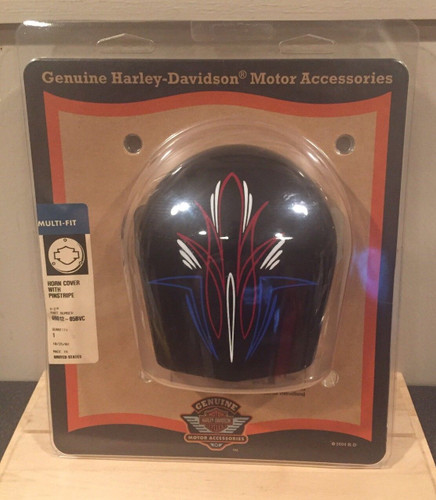 HARLEY-DAVIDSON BLACK HORN COVER WITH RED,WHITE BLUE PINSTRIPES 69012-05BVC , SHOP THE GARAGE