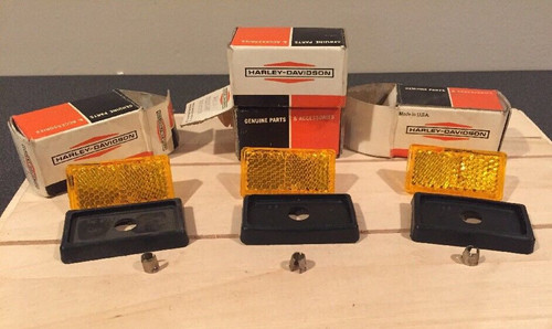 LOT OF 4 NOS OEM HARLEY-DAVIDSON 59259-69 YELLOW AMBER REFLECTORS WITH BOXES , SHOP THE GARAGE