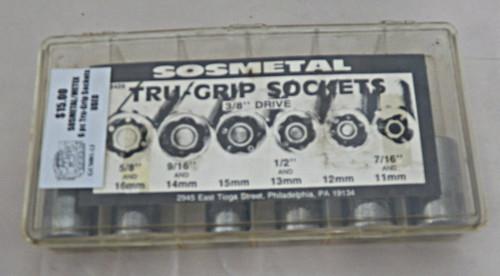 SOSMETAL/METEX 6PC 3/8 Drive Tru-Grip sockets (used)