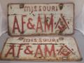 Vintage Pair of Missouri AF & AM Masonic license plates