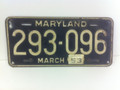 1953 Maryland License plate (single) black metal with metal year tag. Well used tag, a bit crusty but shows well, perfect for a driver or rate rod project or to hang in the garage.