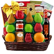 A Jerusalem Wine, Fruit & Kosher Food Purim Gift Basket