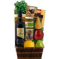 Fruit and Red Wine Kosher Gourmet Basket