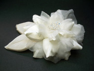 Antique White Camellia Bridal Wedding Dress Flower Leaves Swarovski