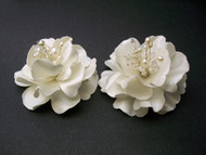Antique White Miniature Magnolia Bridal Hair Flowers, Set of 2