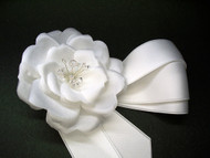 Authentic Couture Camellia Choker White Wedding Headband Bridal Dress Sash Pin, Wedding Dress Accessory