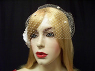 Bandeau Birdcage Veil Hair Accessory Champagne French Dotted 9in