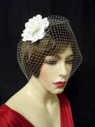 Birdcage Veil White French Blusher 9in Wedding Veil Accessory No 2