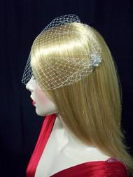 Bridal Birdcage Veil White French Bandeau Wedding Veil Accessory