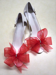 Bridal Shoe Clips Accessories Organdy Red Bow Swarovski Rhinestones