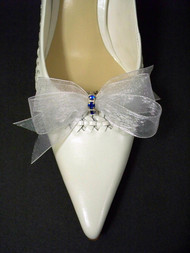 Bridal Shoe Clips White Organdy Something Blue Bow Accessory Swarovski