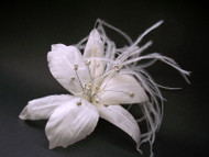 Bridal Wedding Hair Accessory White Stargazer Lily Veil Fascinator Clip Floreti