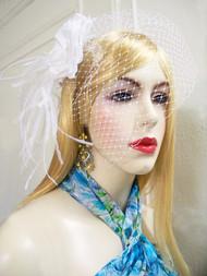 Bridal White Silk Rose Clip Detachable Birdcage Veil Wedding Accessory