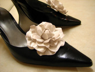 Couture Gardenia Bridal Wedding Shoe Clips Accessory Seashell Beige
