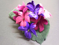 Couture Wild Violets Silk Flower Wedding Corsage Pin Floral Accessory