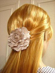 Gardenia Bridal Hair Clip Silk Flower Wedding Accessory in Seashell