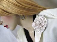 Gardenia Wedding Dress Pin Silk Flower Bridal Accessory in Seashell