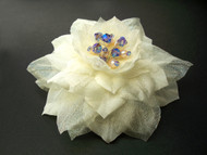 Ivory Camellia Hair Clip Dress Pin Accessory Organdy Swarovski pearl