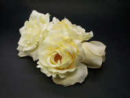 Ivory French Silk Rose Wedding Dress Bridal Sash Accessory Pin Set