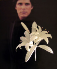 Ivory Lily Men Boutonniere Lapel Pin Wedding Accessory Groom Corsage