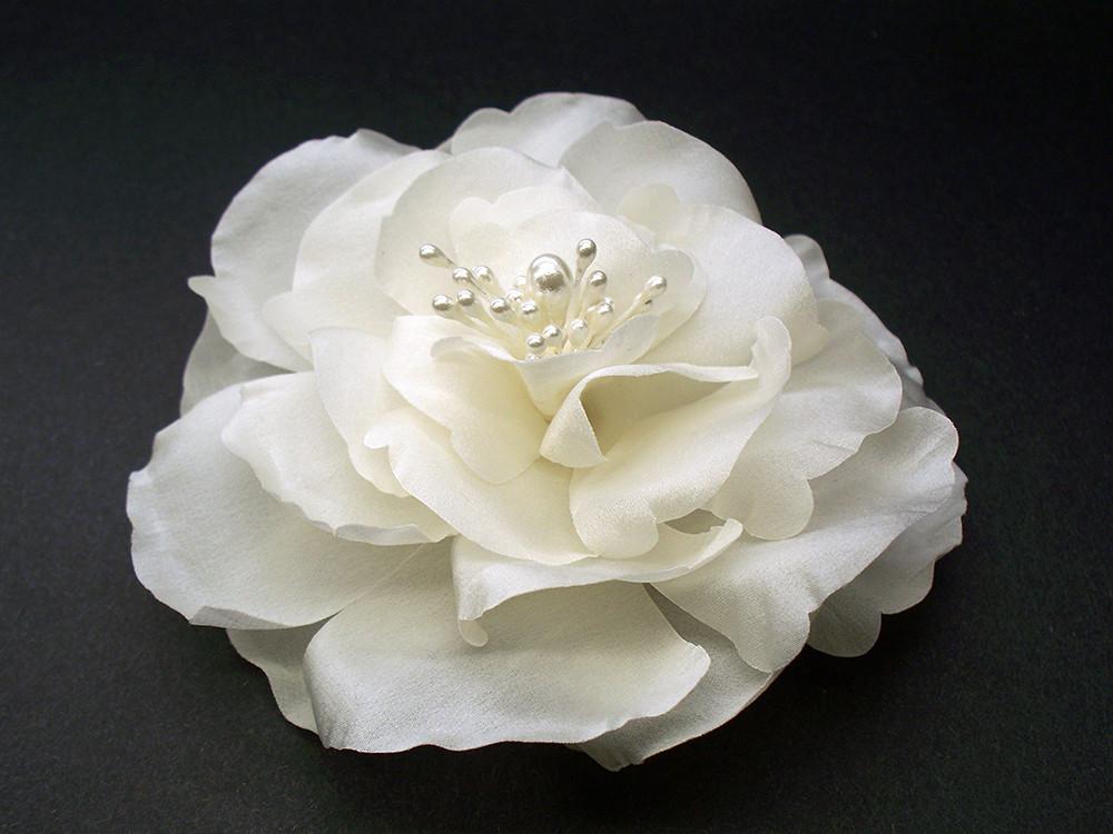 Ivory magnolia bridal silk flower hair clip wedding veil accessory mightylinksfo
