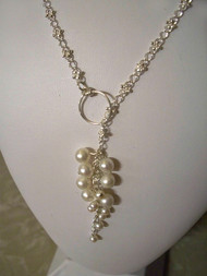 Lily Valley Sterling Silver Lariat Necklace White Pearl Bridal Jewelry