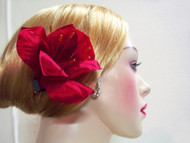 Luxury Hair Accessory Red Silk Amaryllis Hair Clip Fascinator Gift