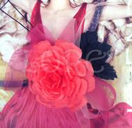 Pink Cabbage Rose Bridal Corsage Sash Pin Accessory Organdy Bow