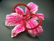Pink Stargazer Lily Hair Clip Silk Flower Ruby Red Fascinator crystal