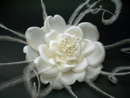 Rose Feather Bridal Hair Flower Accessory White Wedding Veil Fascinator