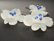 Small Ivory Dogwood Bridal Hair Pins Sapphire Blue Swarovski Crystals