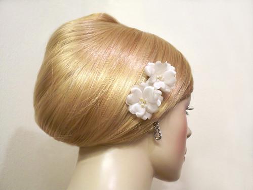Small rose silk bobby pins wedding hair flower ivory pearl crystal 2 mightylinksfo