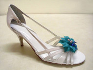 Turquoise Blue Camellia Shoe Clips Mauve Pearls Blue Swarovski Crystal
