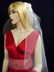 White Designer Bridal Veil Double Tiered Elbow Length Detachable