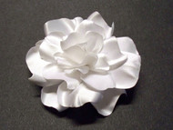 White Satin Gardenia Couture Bridal Hair Flower Accessory Wedding Veil