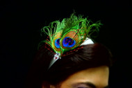 Bridal Hair Accessory Blue Green Peacock Wedding Fascinator Ivory Headband